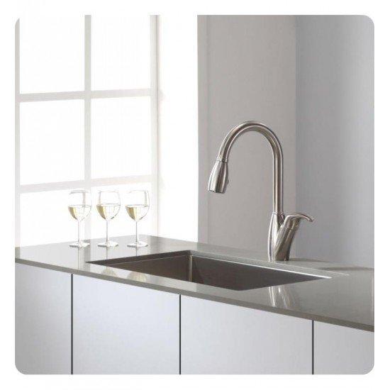 "Kraus KHU100-30 30"" Single Bowl Undermount Stainless Steel Rectangular Kitchen Sink"