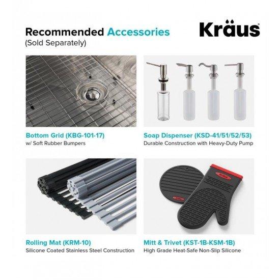 "Kraus KHU101-17 Standart Pro 17"" Single Bowl Undermount Stainless Steel Square Kitchen Sink"